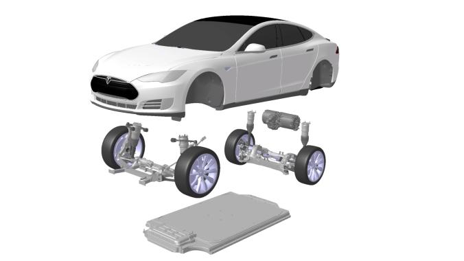 A peça plana no fundo é o conjunto de baterias, que fica localizado no assoalho para baixar o centro de gravidade, o motor fica atrás do eixo traseiro, como num Porsche 911