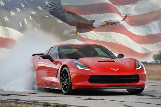 C7-Corvette-Stingray-with-American-Flag-and-Eagle
