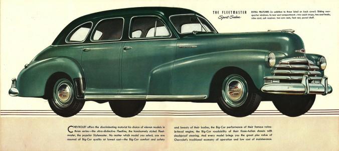 O Chevrolet Fleetmaster 1947, exemplo de um tradicional carro americano dos anos 40